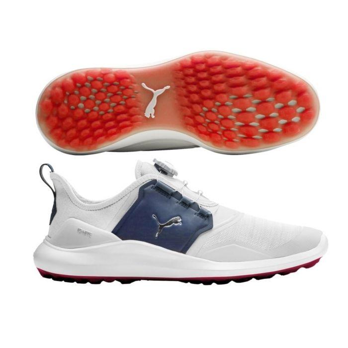 Puma Ignite NXT Disc White/Navy Golf Shoes